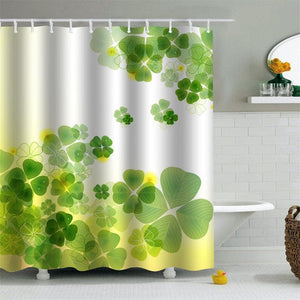 Four Leaf Clover Shower Curtain Green Bath Decor | GoJeek