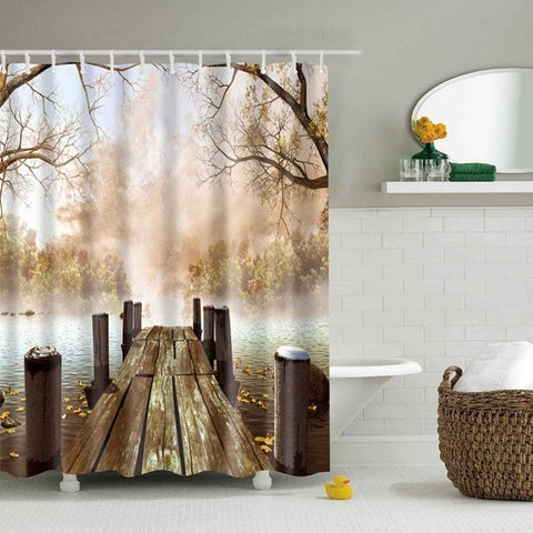Autumn Riverside Lake Shower Curtain Nature Scenery Bath Decor | GoJeek