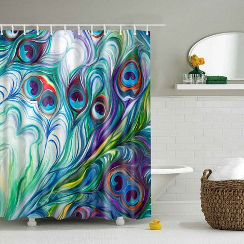 Elegant Peacock Tail Feather Shower Curtain | GoJeek