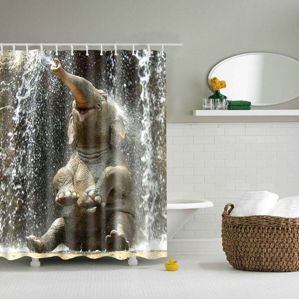 Elephant Spraying Water Shower Curtain Happy Bath Decor | GoJeek