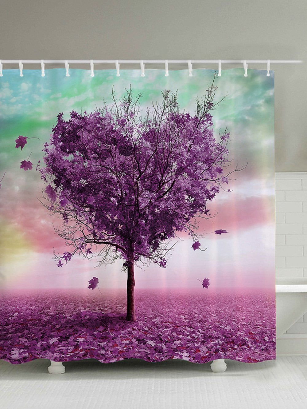 Purple Heart Shaped Tree Shower Curtain Autumn Bath Decor | GoJeek