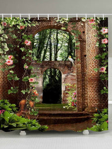 Flora Courtyard with Violin Shower Curtain | GoJeek