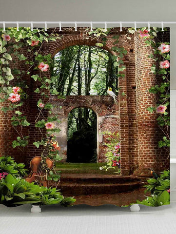 Flora Courtyard con Violin Shower Curtain | GoJeek