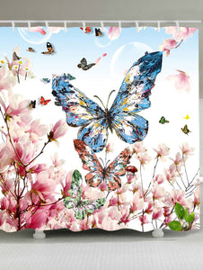 Fluttering Spring Flowers Butterfly Shower Curtain | GoJeek
