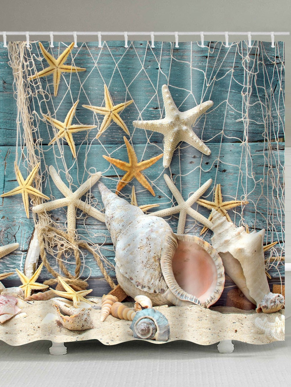 Starfish and Shell Shower Curtain Deck Coastal Bath Decor | GoJeek