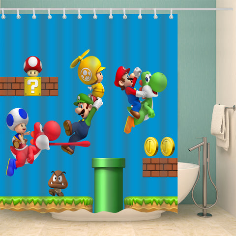 2019 Cartoon Super Mario Bros Shower Curtain