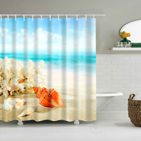2019 Orange Conch Shower Curtain Summer Beach Sand Coral With Conch Bathroom Curtains