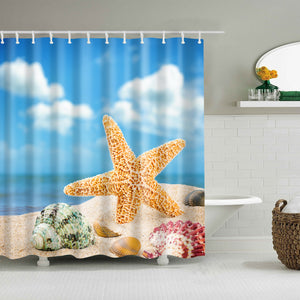 2019 Starfish Shower Curtain Green Conch Colorful Seashell Conch Bathroom Curtains