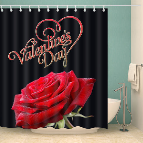2019 Valentine Day with Fresh Rose Shower Curtain