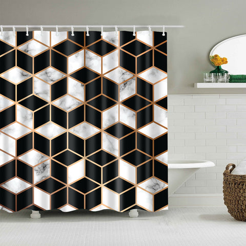 3D Cube Effect Black White Marbling Mosaic Tiles Shower Curtain