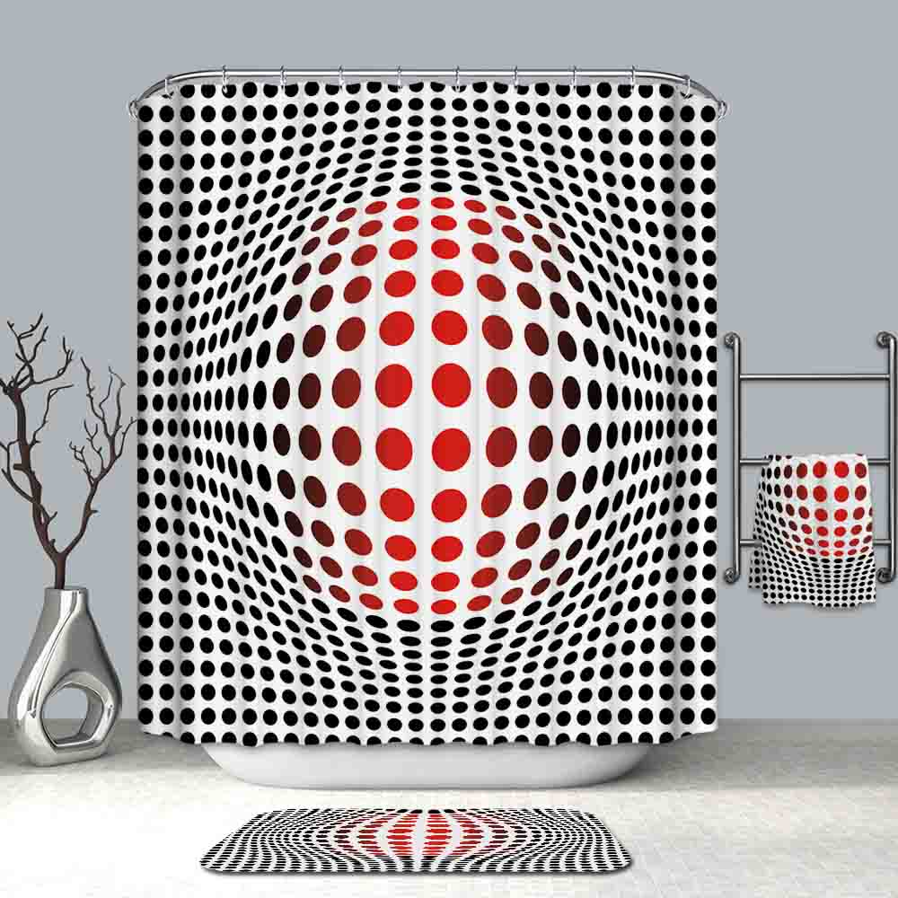 3D KOPPARFALL Reproduction Illusion Red Shower Curtain | GoJeek