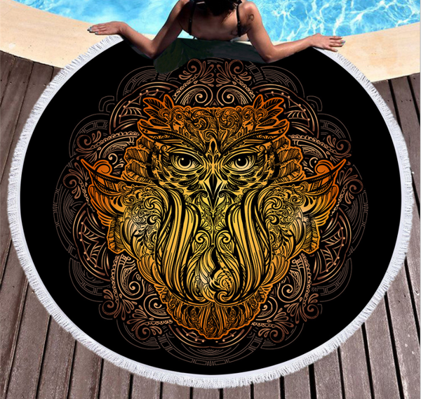 Black Gold Owl Campanula Dream Catcher Round Beach Towel