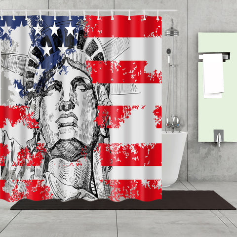 4th of July Memory Liberty American Flag Shower Curtain