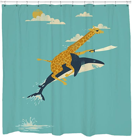 Funny Never Stop Dreaming Giraffe Riding Shark Shower Curtain