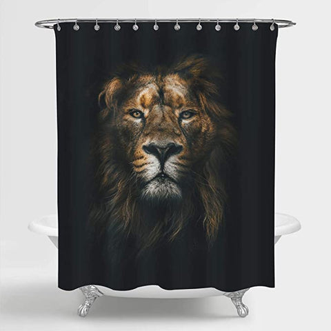 Wild Lion Face Shower Curtain Black Backdrop Animal