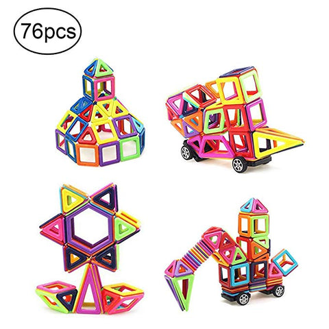 76 PCS Creative Preschool Educational Magnetic Tiles Building Blocks Set Construction Kit 3D Magnet Stacking Toys