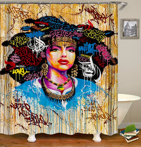 AISHA Hip Hop Women Street Art Shower Curtain