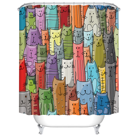 Abstract Colorful Cute Animal Funny Cats Family Shower Curtain