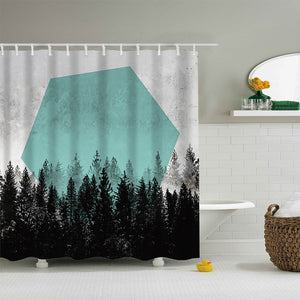 Abstract Green Hexagon Shape Sunshine with Black Tall Trees Forest Art Shower Curtain