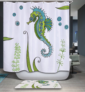 Abstract Art Cute Green Seahorse Shower Curtain