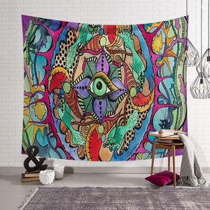Abstract Art Fractal Faces Mystic Eye Psychedelic Trippy Tapestry