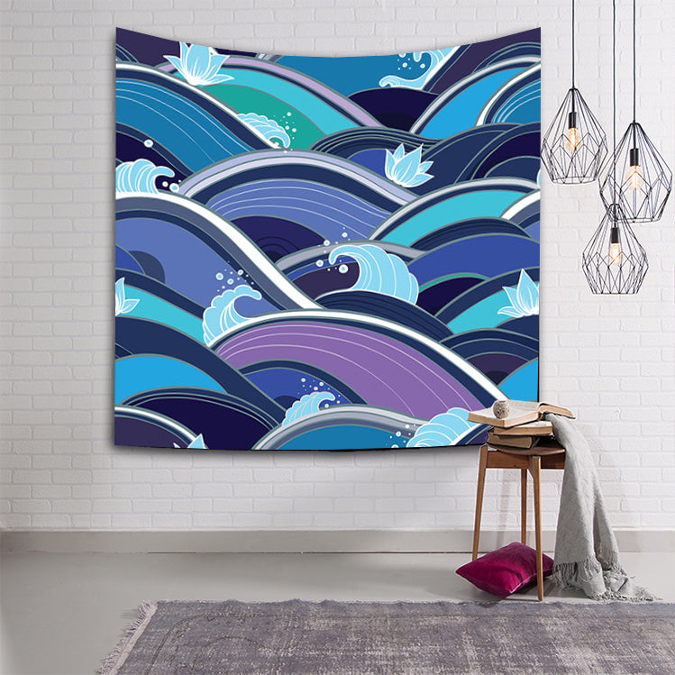 Abstract Art Ocean Waves Japan Art Tapestry