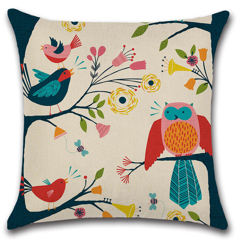 Abstract Art Owl Birds Throw Pillow Cover