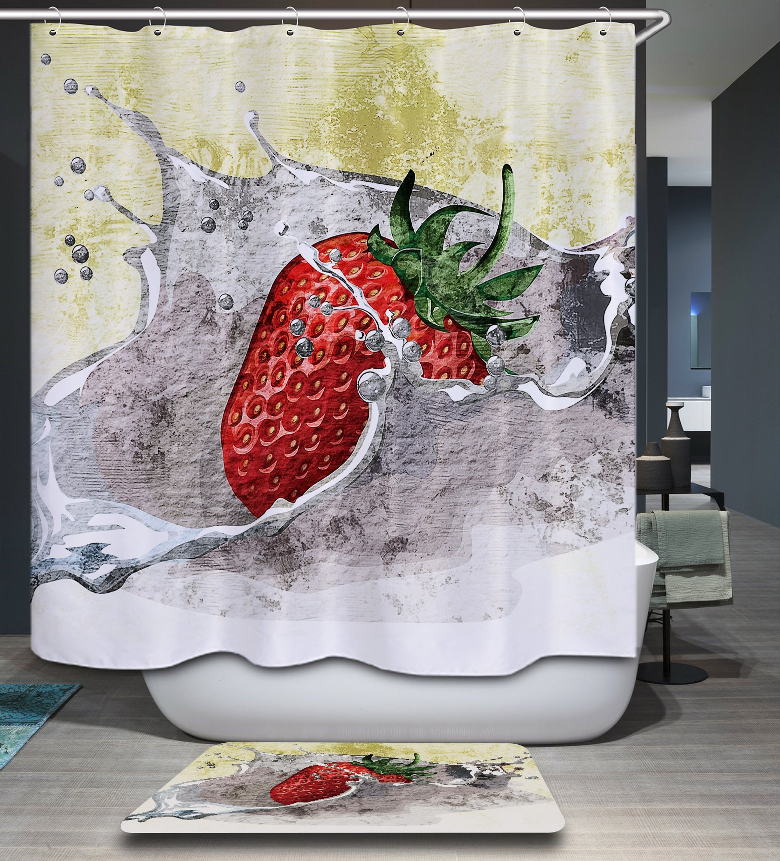 Abstract Art Strawberry Shower Curtain