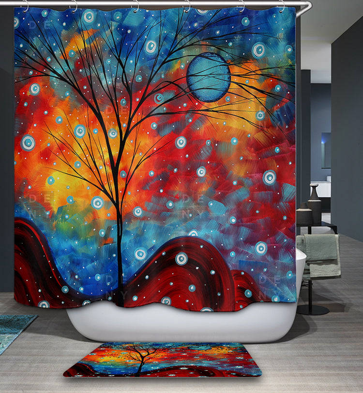 Abstract Art Unique Design Summer Snow Shower Curtain