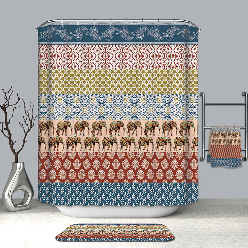 Abstract Ethnic Stripe Elephant Shower Curtain