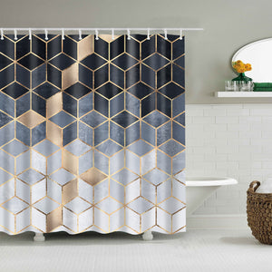 Abstract Geometric Soft Blue Gradient Cubes Shower Curtain