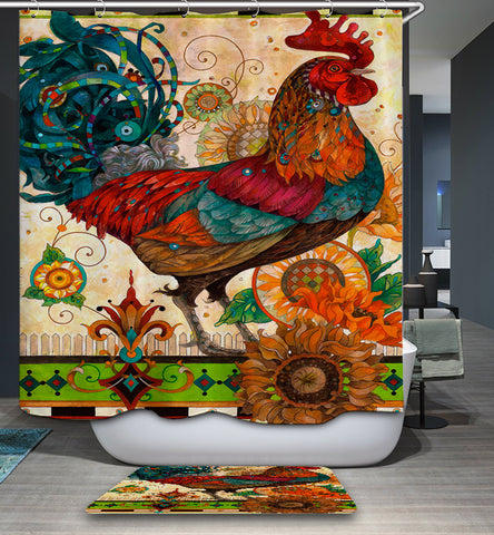 Abstract Look Chicken Shower Curtain