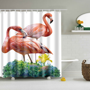 Abstract Pink Double Flamingo on Grass Shower Curtain