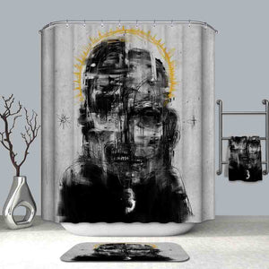 Abstract Portrait Man Shower Curtain | GoJeek