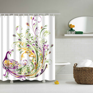 Abstract Purple Peacock Art Shower Curtain