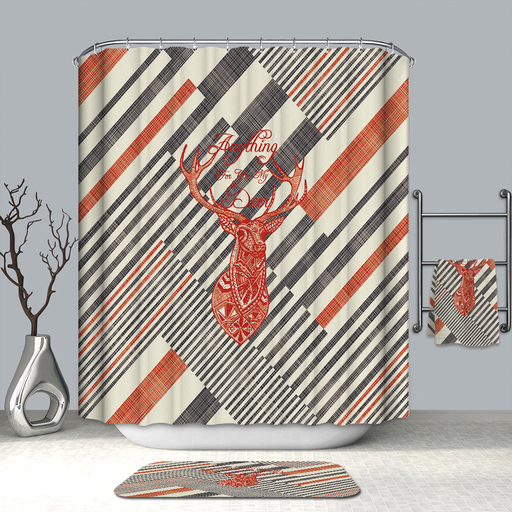 Abstract Striped Geometric with Deer Shower Curtain | GoJeek