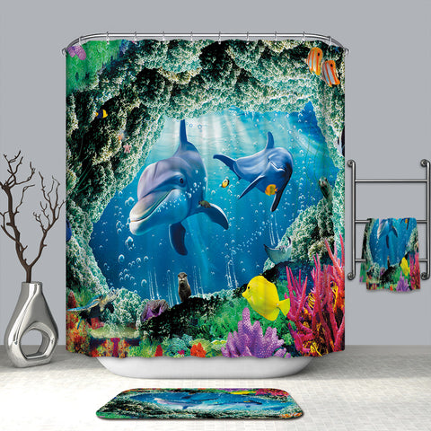 Acrossing Beautiful Coral with Ocean Creatures Cartoon Happy Dolphin Shower Curtain