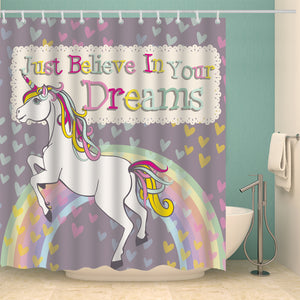 Adorable Colorful Design Girls Unicorn Shower Curtain