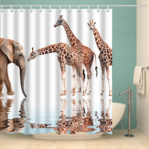 African Animals Elephant with Giraffe Shower Curtain