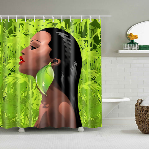 African Afro Bamboo Girl Shower Curtain