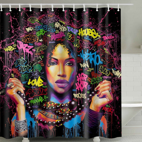 African American Black Girl Art Pop Culture Shower Curtain