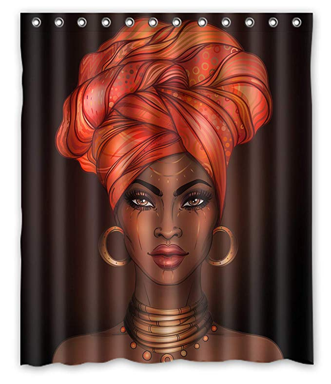 African American Black Girl Wrapped HeadScraf Shower Curtain