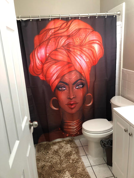 African American Black Girl Wrapped HeadScraf Shower Curtain Bathroom Decor