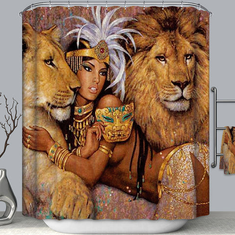 African Queen with Lions Shower Curtain