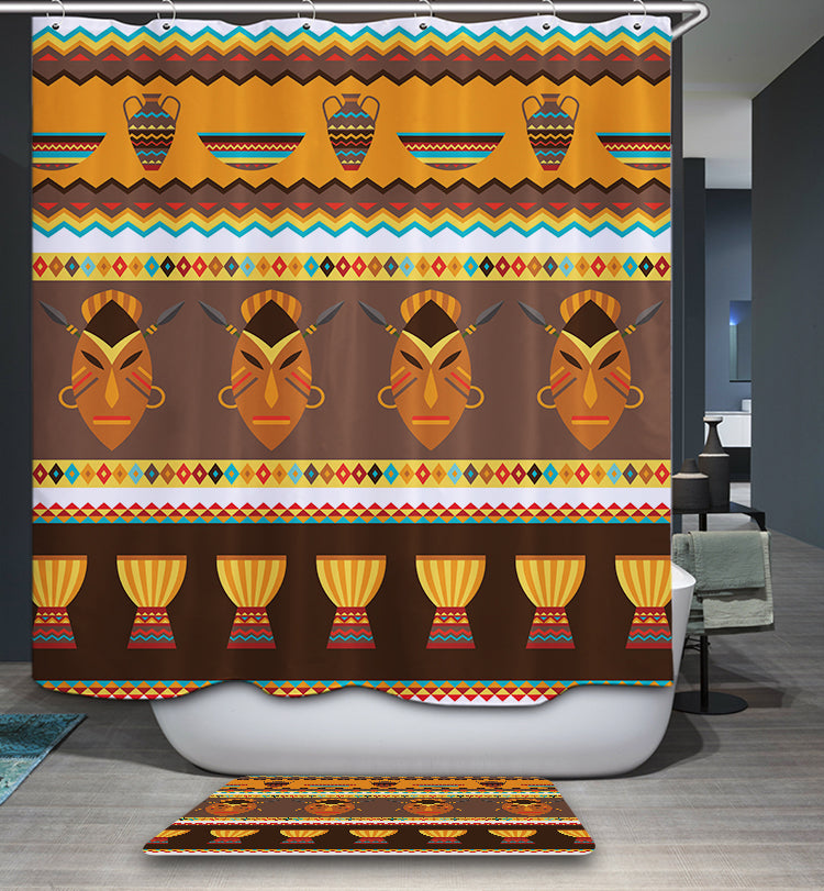 African Tribal Mask Geometric Ornament Shower Curtain