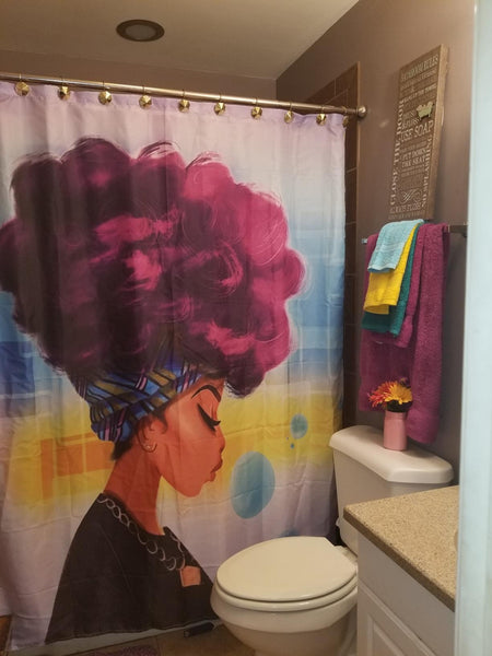 Afro African Black Girl Magic Shower Curtain | GoJeek