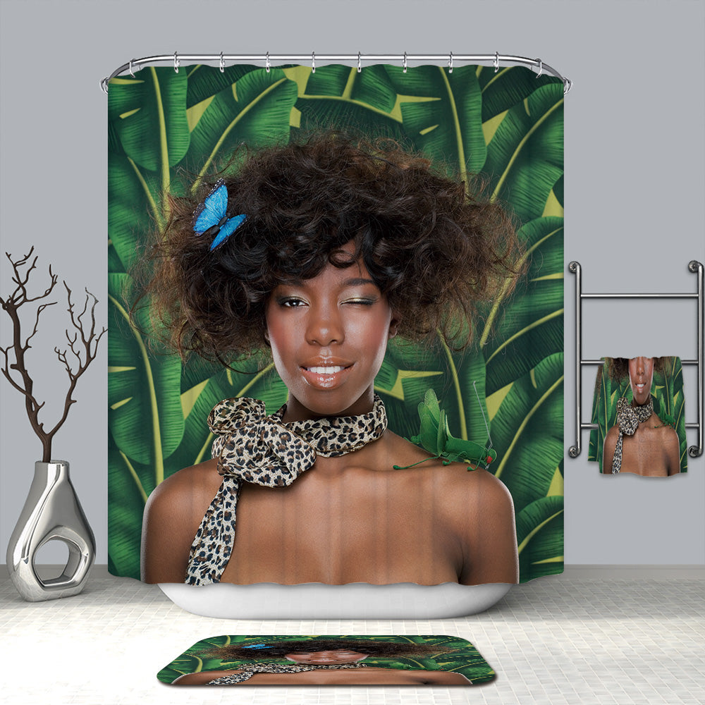 Afro African Girl in Jungle Shower Curtain