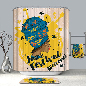 Afro American Girl Jazz Festival Musical Instruments Shower Curtain