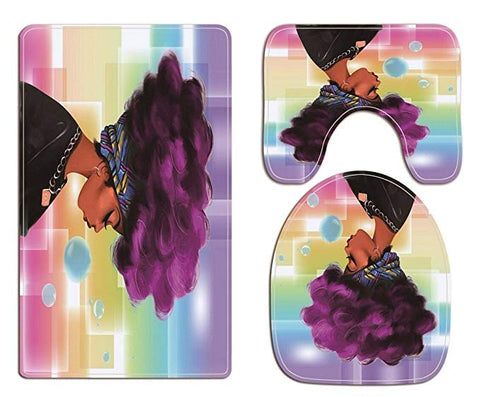 Afro Black Magic Girl Bathroom Rug Toilet Seat Mat Cover Accessories Decor