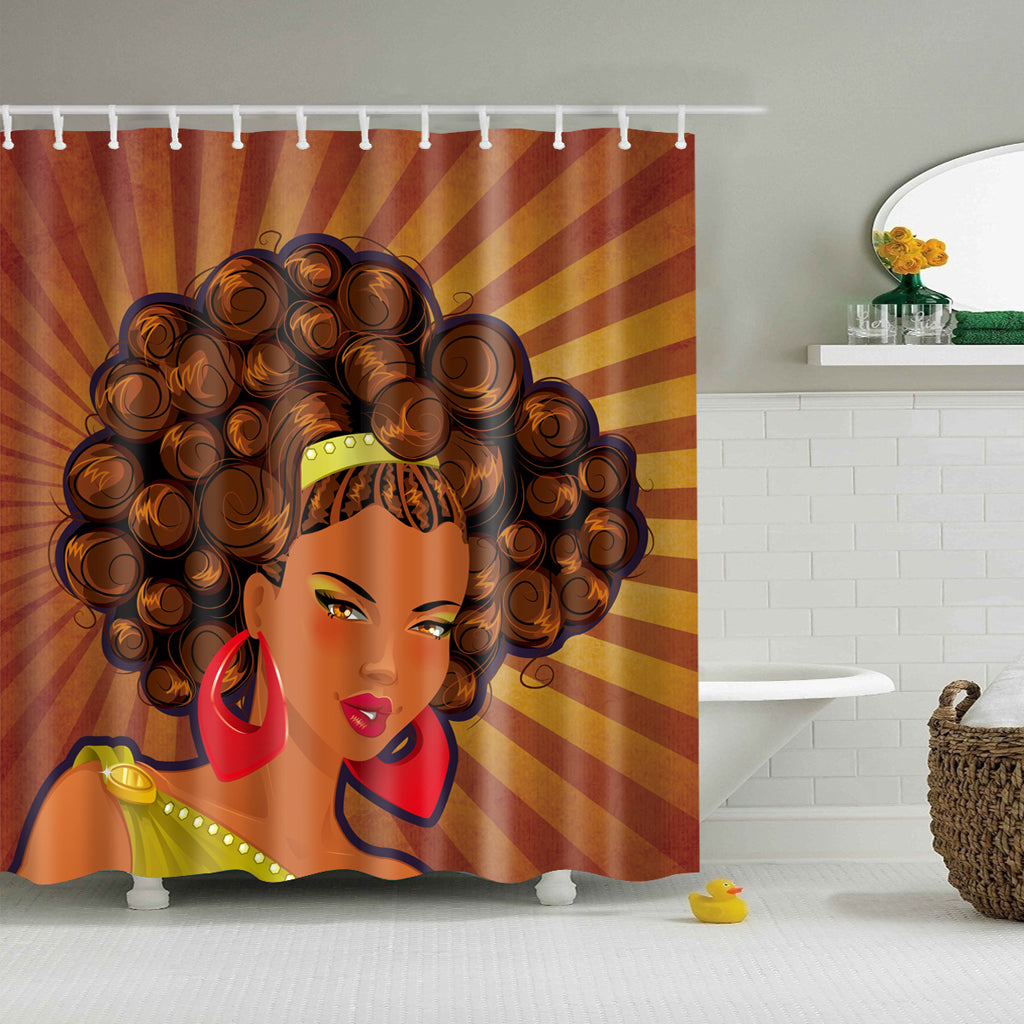 Afro Black Queen Elegant Hairstyle Shower Curtain | GoJeek